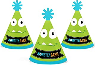 Monster Bash - Mini Cone Little Monster Birthday Party or Baby Shower Hats - Small Little Party Hats - Set of 10