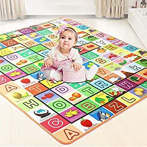 Romofy® Double Sided Water Proof Baby Mat Carpet Baby Crawl Play Mat Kids Infant Crawling Play Mat Carpet Baby Gym Water… 11 61kF le1PIL. SS300
