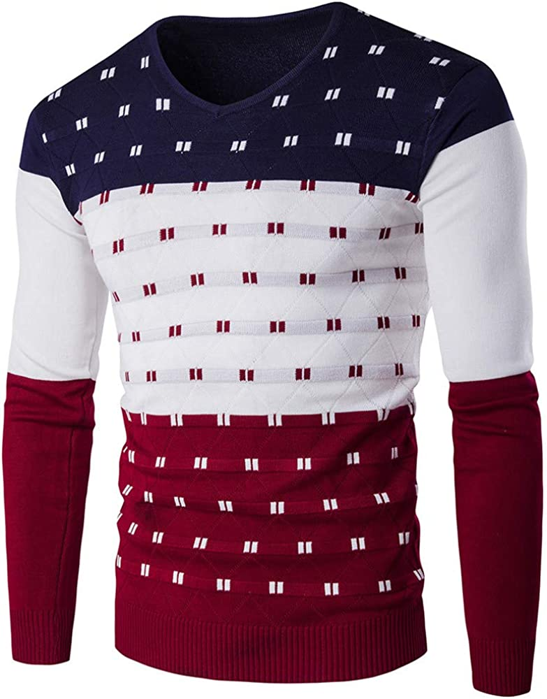 Mens Classic Sleeve Sweat V-Neck Knitted Jumper with Pullover Long-Sleeved Slim Fit Basic Longsleeve Winter