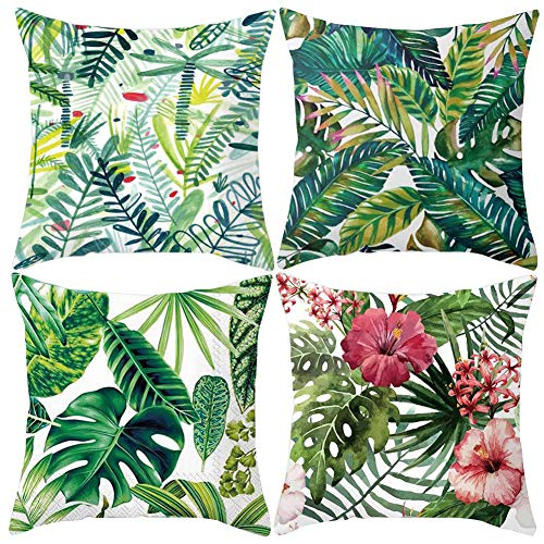 JOTOM Pfirsichhaut Kissenbezug,Taille Platz Kissenbezüge für Home Sofa Auto Dekorative,45x45cm Set von 4 (Grünes Blatt)