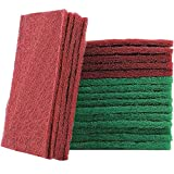 20 Piezas Esponja de Limpieza, Estropajo de Doble Cara, Esponja de Limpieza de Esmeril, para Limpiar la Cocina, el Fregadero y el Tazón (Rojo Verde)