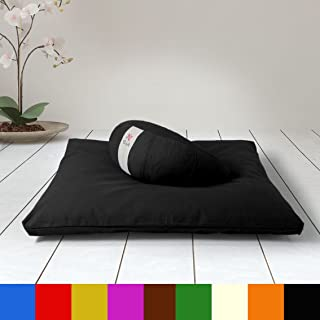 NAKELUCY Japanese Tatami Floor Pillow Zafu Natural Seat Handcrafted Eco-Friendly Pad Knitted Bulrush Flat Seat Cushion//Straw Futon Cushion for Zen,Yoga,Meditation Thicken Meditation Pillow