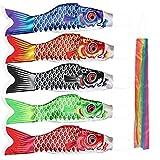 Kreatwow Japonés Carpa de algodón Carpa de Viento Streamer Fish Flag Kite Koinobori 40 cm Hogar Al Aire Libre Decoración Colgante 5 Colores