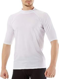 Men's Swim Shirt,Rash Guard Short Sleeve T-Shirt, Surf...