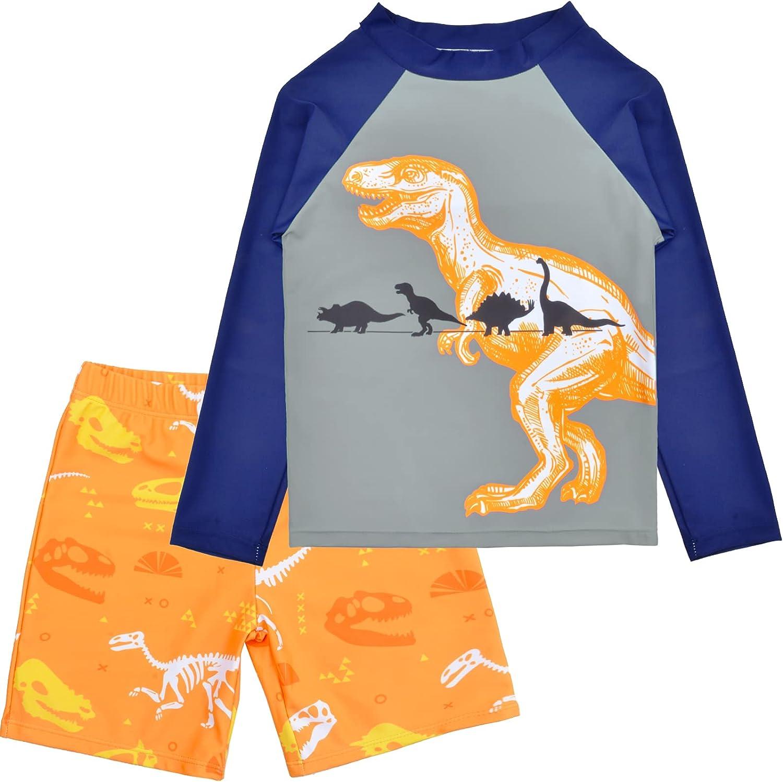 Sylfairy Boys Two Piece Rash Guard Swimsuits Kids Long Sleeve Sunsuit Swimwear Sets Bathing Suit