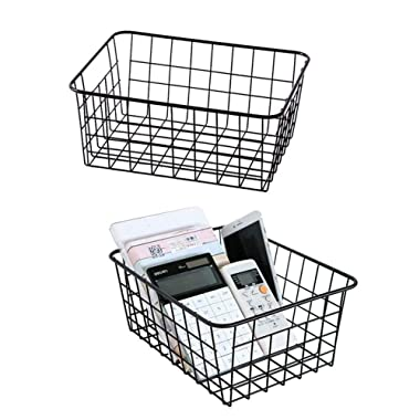 Metal Wire Storage Basket with Handles for Kitchen Food Pantry Papers Home Office Desk Shelf Bathroom Laundry Room Shelf Bedroom Bed Room, 2PCS (Black)