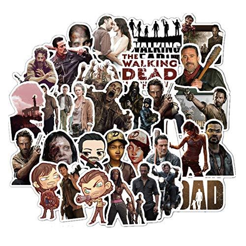 Paquete de pegatinas de Walking Dead para On The Laptop Heladera Teléfono, Monopatín, Maleta de Viaje, Maleta de Equipaje, 50 unidades