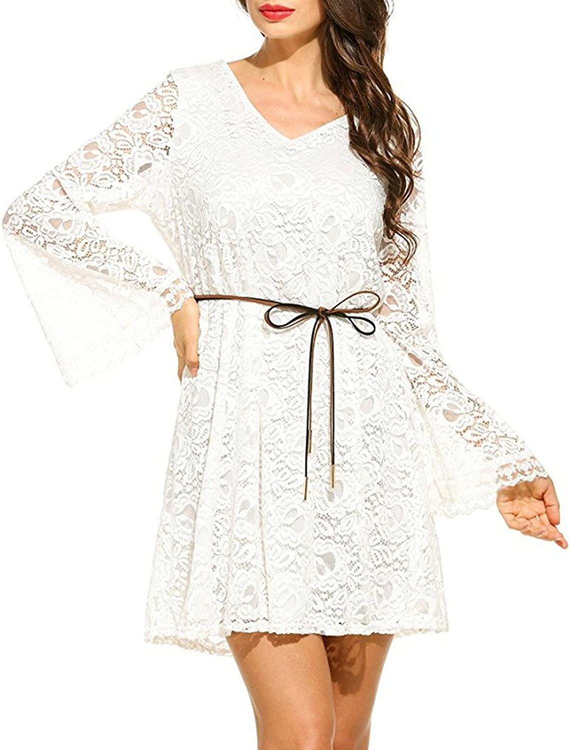 Holdwell Womens VNeck Long Flare Sleeve Floral Lace Short Aline Dress