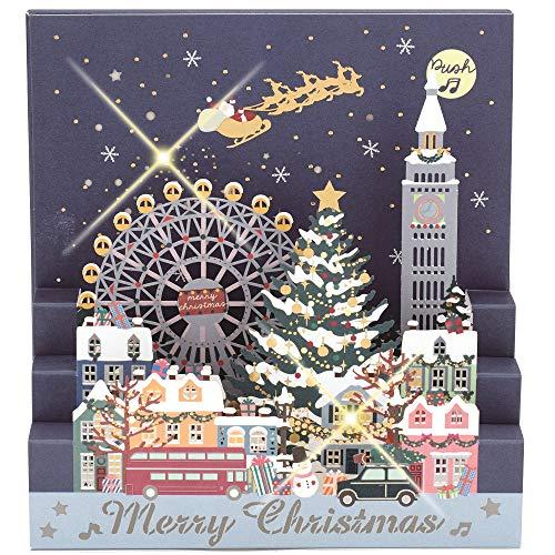 学研ステイフル クリスマスカード ミュージック レーザー 街 X14810