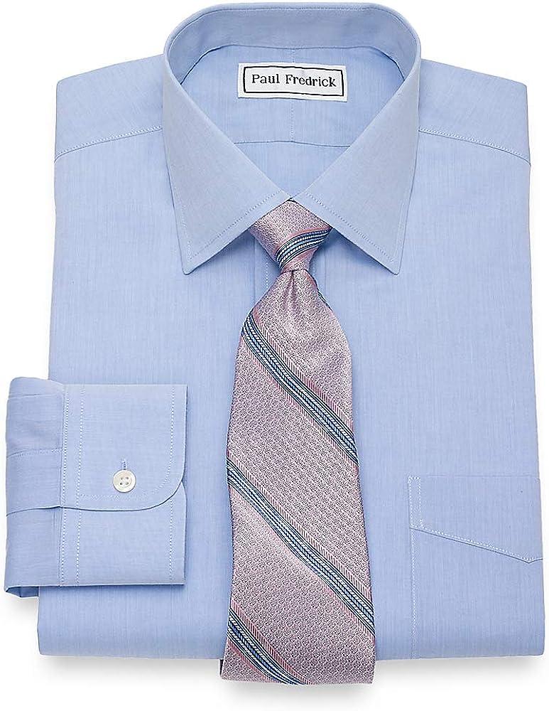 Paul Fredrick Men's Non-Iron 2-Ply Cotton Windsor Spread Collar Dress Shirt