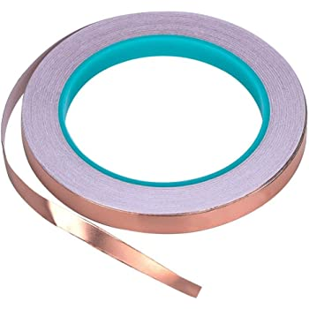 Zehhe Copper Foil Tape with Double-Sided Conductive - EMI Shielding,Stained Glass,Soldering,Electrical Repairs,Slug Repellent,Paper Circuits,Grounding (1/4inch)