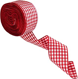13 Yard Christmas Burlap Ribbon, Buffalo Plaid Burlap Ribbon, Buffalo Check Ribbon Christmas Tree Ribbon Gingham Wrapping Ribbon, Decorative Wired Holiday Party Ribbons for Gift Wrapping (Red-White)
