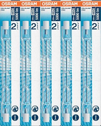 5 Stück Osram 64701 HALOLINE 230W 230V R7s FS1 Gesamtlänge 114,2mm Halogen-HV-Lampe/-Halogenstab