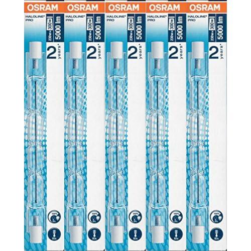 5x Osram lampada alogena Haloline Pro, 118mm, R7s, 230V, 230W, 64701