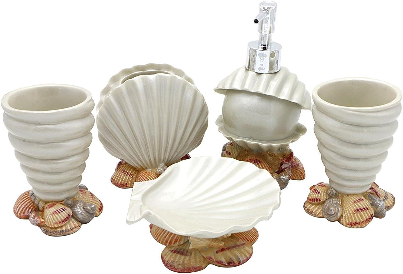 JynXos Resin 5 Pieces Bathroom Accessory Set - Conch And Seashell Design Ensemble Bathroom Vanities Home Decor