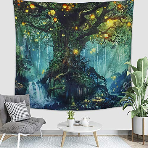 Arfbear Wall Hanging Tapestry, Tree of Life in Psychedelic Forest under Star Moon Night (51.2'×59.1')