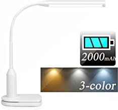 LED USB Rechargeable Battery Desk Lamp Clip Light,Flexible Gooseneck,Stepless Dimmable,Touch Control,Eye-Caring Book Reading Lamp with Clamp(3 Color)