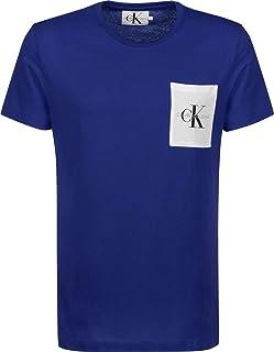 Calvin Klein Jeans Men's Monogram Pocket Slim Tee, Mazarine Blue/Bright White, S