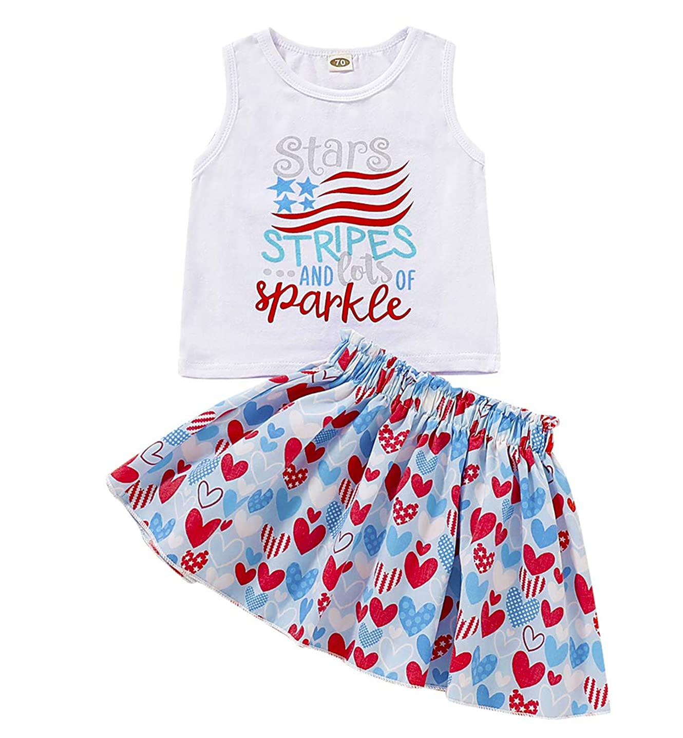 SWNONE Toddler Kids Girl 4th of July Baby Girl Skirt Outfit American Flag Vest Top+ Heart Skirt Set