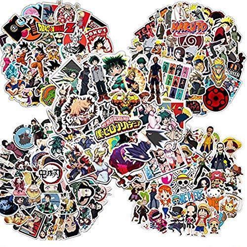 Laoji 250PCS Anime Stickers, Chaque 50PCS Autocollants de Dragon Ball Z, My Hero Academia, Naruto, One Piece et Demon Slayer pour Ordinateur Portable, téléphone, Bagages, Bouteille d'eau
