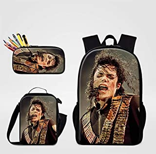WHJY 3D Backpacks Michael Jackson Printing Polyester Lightweight Daily Backpacks Computer Backpacks Lunch Bag with Pencil Bag