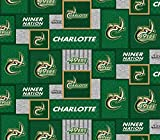 UNC Charlotte 49'ers Fleece Blanket Fabric with New Patch Design-Sold by The Yard