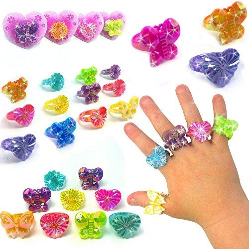 German Trendseller® - 12 x Kinder - Schmuck - Ringe auf Karte ┃ - NEU - ┃ Mitgebsel ┃ Kindergeburtstag ┃ Magische Ringe ┃ 12 Stück