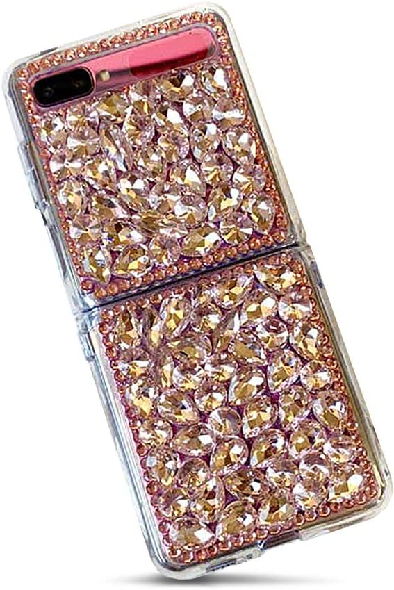 for Samsung Galaxy Z Flip Crystal Clear Case Cover 3D Jewelry Shockproof Hard Case (2020)