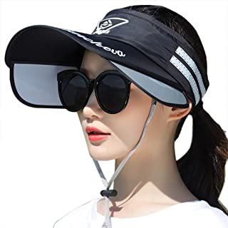 قبعة شمس الصيف للنساء للحماية من الأشعة فوق البنفسجية قبعة شمس واسعة الحافة مع قناع قابل للسحب قبعة شاطئ فارغة