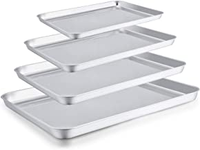 TeamFar Baking Sheet Set of 4, Stainless Steel Baking Pan Tray Cookie Sheet, Non Toxic & Healthy, Rust Free & Easy Clean - Dishwasher Safe