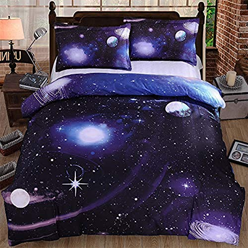 choicehot Starry Sky Duvet Cover Double Size Set Galaxy Space Pattern Kids Bedding Set Ultra Soft Starry Theme Comforter Cover for Boys Kids Teens (1 x Quilt Cover + 2 x Pillowcases)