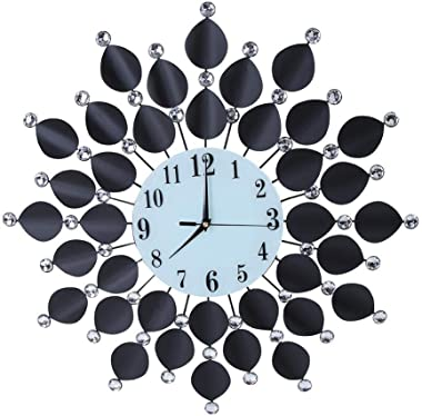 Silent Wall Clock, Fashion Creative Personality Silent Wall Clock Non-Ticking Quartz Decorative Clock with Bling Diamond
