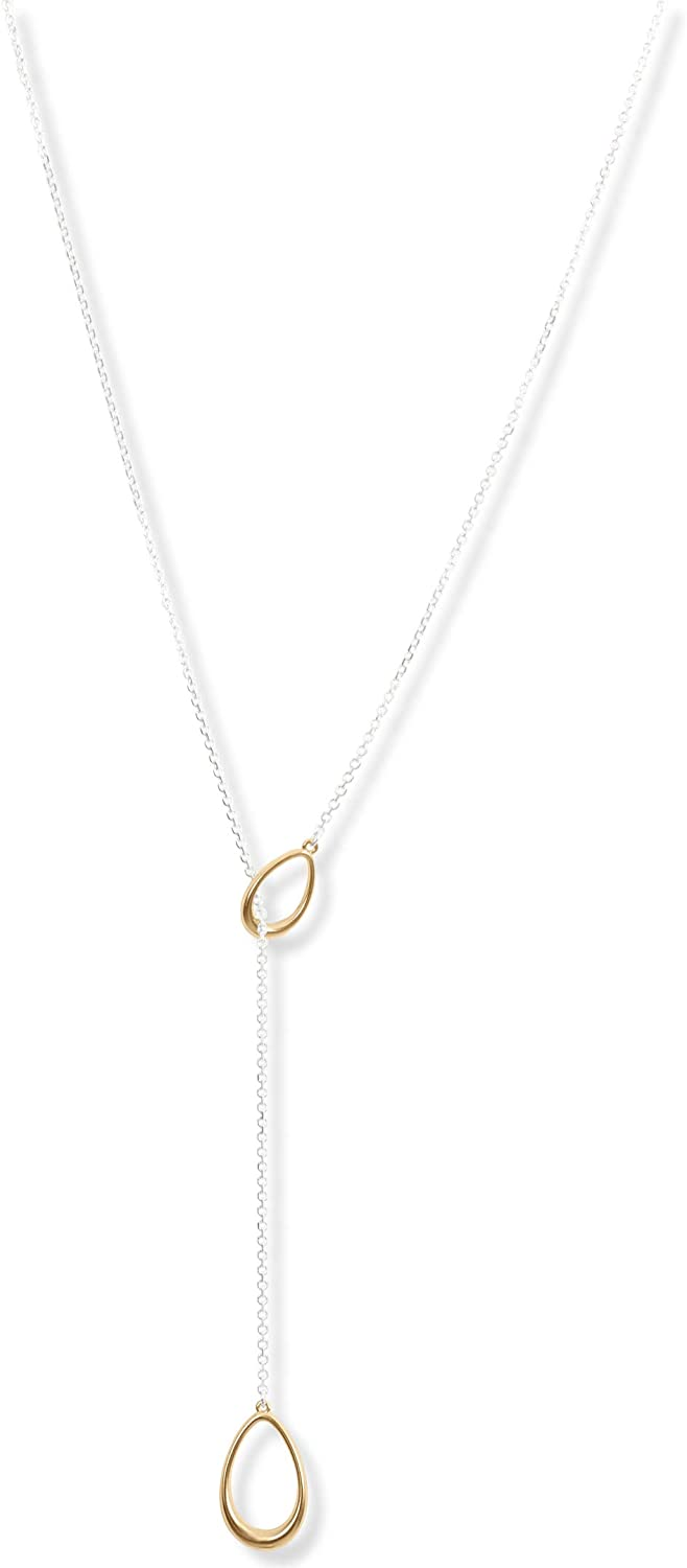 Lucky Brand Teardrop Link Lariat Necklace, Two Tone, One Size (JWEL4771)