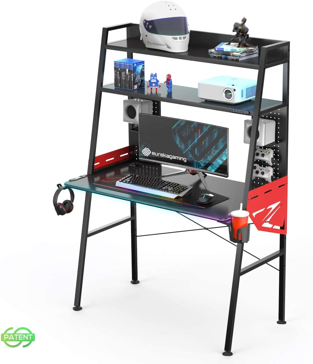 EUREKA ERGONOMIC wholesale 43 Inch Free Shipping New Black RGB Gaming LED Home Desk Ladder