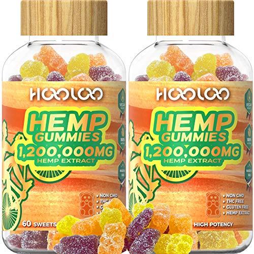 2 Pack Hemp Gummies, HOOLOO 1,200,000MG Vegan Fruity Hemp Gummy Bears for Relaxing, Sleep Better, Reduce Stress Anxiety, Natural Hemp Extract Gummies, Made in USA