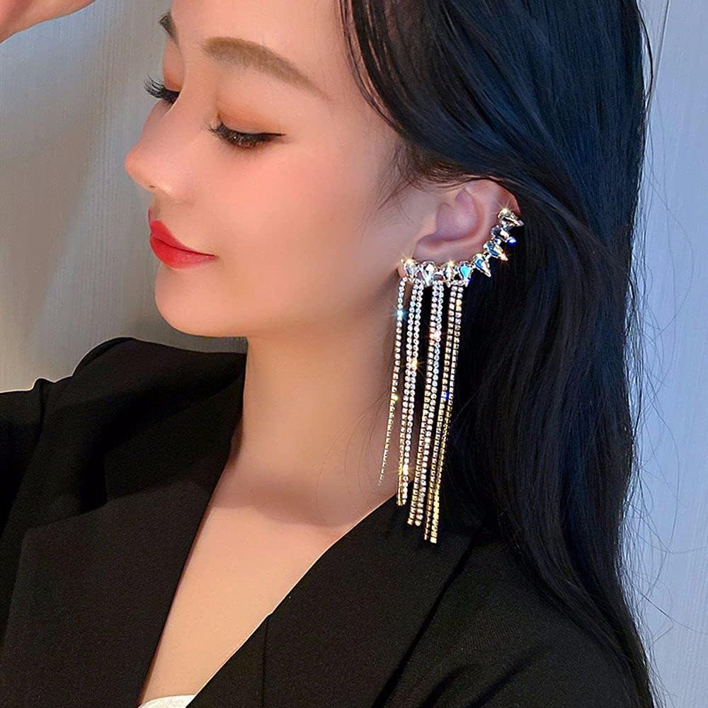Luxury Clip On Earrings,1pcs Simulated Diamond Long Earrings for Women,Pierced Ears Statement Angel Wing Long Crystal Tassel Clip Earrings Ear Cuff