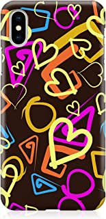 Loud Universe Case for iPhone XS Wrap around Edges Valentines Day Couples Love Neon Heart Pattern Sleek Design Heavy Duty ...