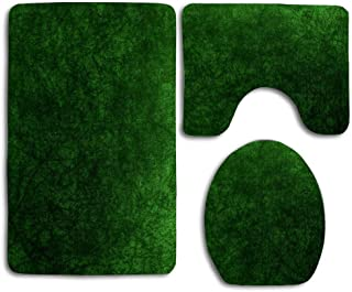 Emerald Green Grass Velvet │ Texture Beautiful Toilet Lid Cover Wood Soft Comfort Washroom Mats,Non-Slip Absorbent Toilet Seat Cover Bath Mat Lid Cover,127pcs/Set Rugs