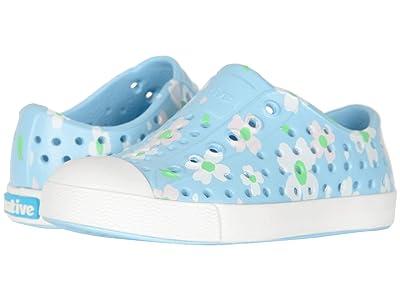 Native Kids Shoes Jefferson Print (Toddler/Little Kid) (Sky Blue/Shell White/Daisy) Girls Shoes