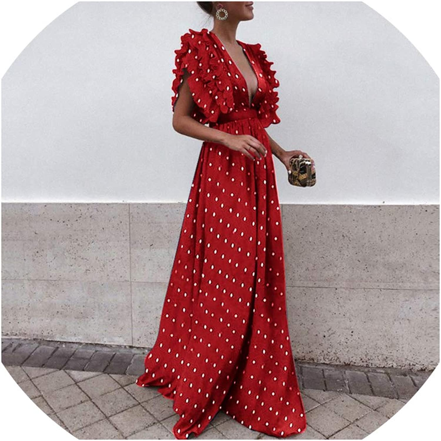 Polka Dots Shirt Bohemian Dresses Butterfly Sleeve Ruffles Plus Size Boho Maxi Dress