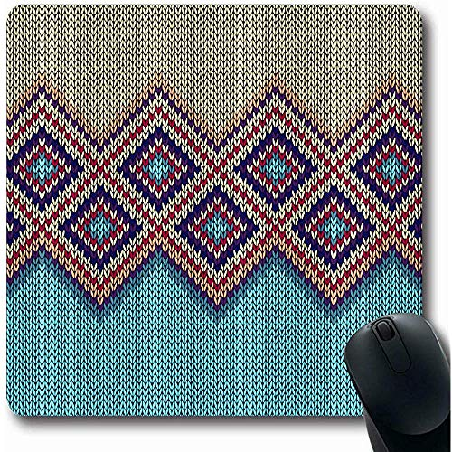 Mousepads Canvas Geel Etnische Wollen Abstract Patroon Blauw Geruit Moderne Trui Winter Baby Bundel Ontwerp Oblong Vorm 18X22Cm Anti-lip Gaming Mouse Pad
