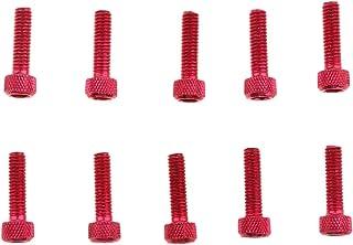 Kesoto 10 peças M6 x 20 mm de liga de alumínio, parafusos sextavados, vermelho