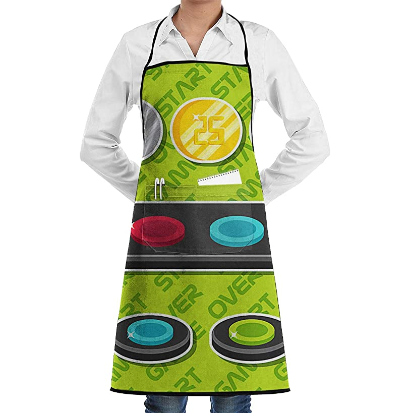 Arcade Button Apron Lace Unisex Mens Womens Chef Adjustable Polyester Long Full Black Cooking Kitchen Aprons Bib with Pockets for Restaurant Baking Crafting Gardening BBQ Grill
