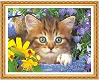 クロスステッチキット-簡単なパターンクロスステッチ刺繡キット-家の装飾のために数えられる刻印された供給-猫16X20インチ