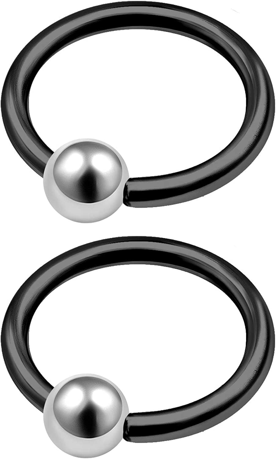 MATIGA 2Pcs Black Anodized 14g Captive Bead Ring Piercing Jewelry Tragus Nose Septum Eyebrow Cartilage 4mm Steel Ball More Choices