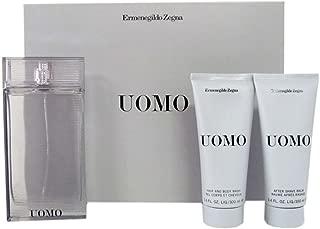 Ermenegildo Zegna Uomo 3 Piece Gift Set for Men (Eau de Toilette Spray Plus Hair Body Wash Plus After Shave)