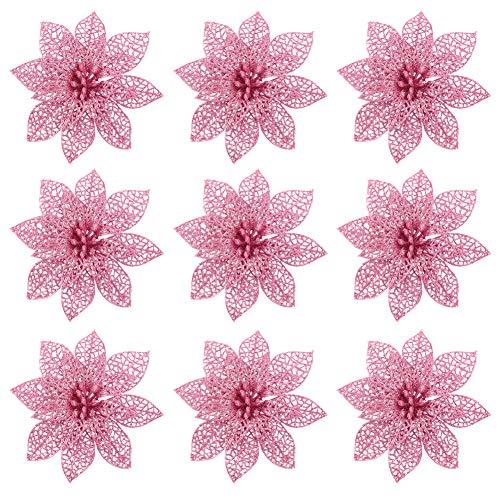 Flores Navidad Artificiales, 9 piezas de adornos de árbol de Navidad con purpurina rosa Flores artificiales florales decorativas para bodas de Navidad (14 cm)