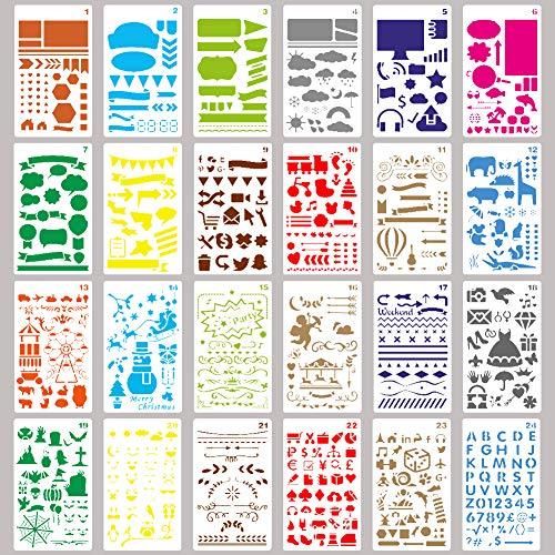 HAKACC - Plantillas para troquelar (24 hojas, para hacer dibujos, para diario, scrapbooking, textil, libro de visitas, tarjetas de regalo DIY