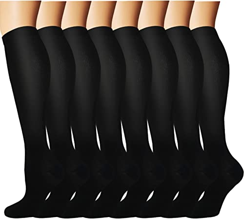 Knee High Compression Socks For Men & Women(8 Pairs)-Best For Running,Athletic and Travel -15-20mmHg (Small/Medium)