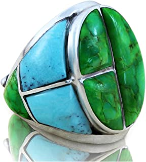 Solid 925 Sterling Silver Ring with Green Turquoise Stones for Men Sizes 8 to 15